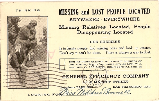 Finding missing people postcard back of huge finger auxiliary marking